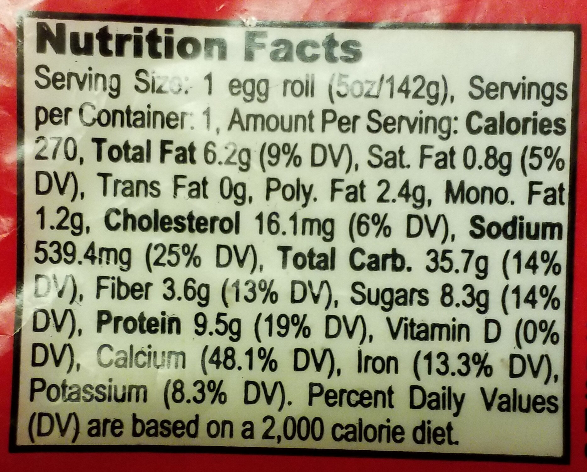 Imperial Garden, Lobster Egg Roll - Nutrition facts