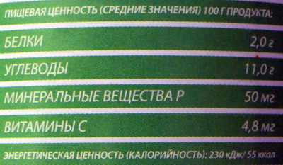 Кукуруза отборная - Informations nutritionnelles