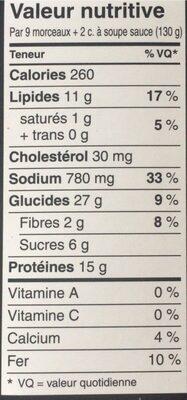 poulet du général Tao façon tempura - Nutrition facts - fr