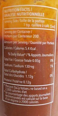 Sauce au piment fort SRIRSCHA - Informations nutritionnelles - fr