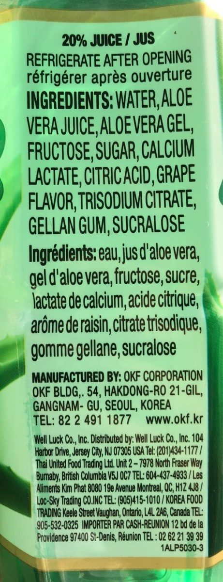 Aloe Vera Drink - Ingredients
