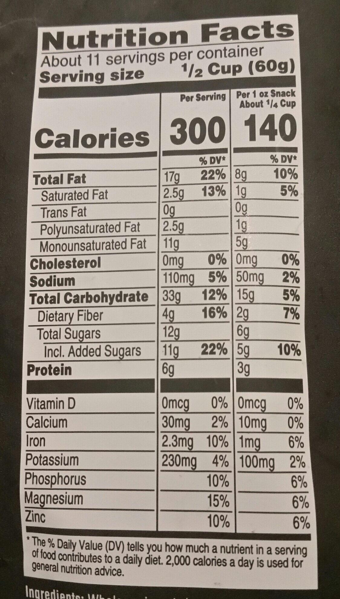 dark chocolate hazelnut butter premium granola - Nutrition facts