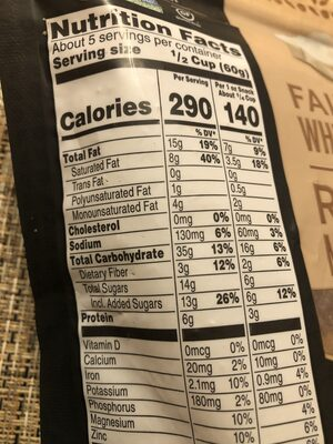 Bear Naked premium granola - Nutrition facts
