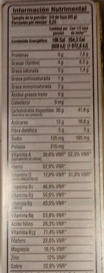 Post raisins - Información nutricional - es