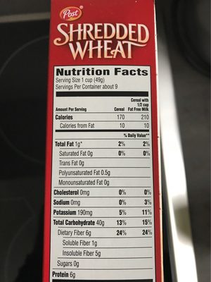 Shredded Wheat, Spoon Size Cereal, Original - Nutrition facts