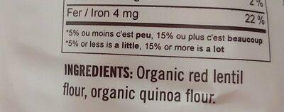 Fusilli Lentilles et Quinoa - Ingrédients - fr