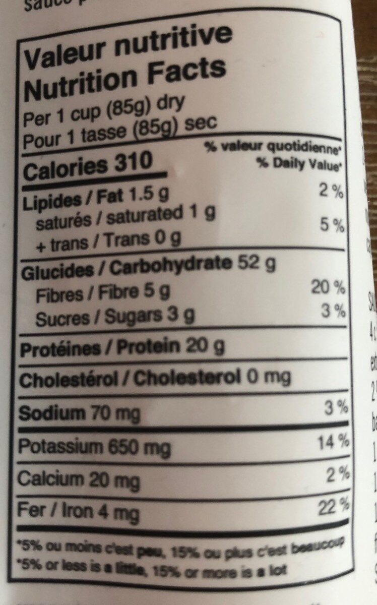 Fusilli Lentilles et Quinoa - Informations nutritionnelles - fr