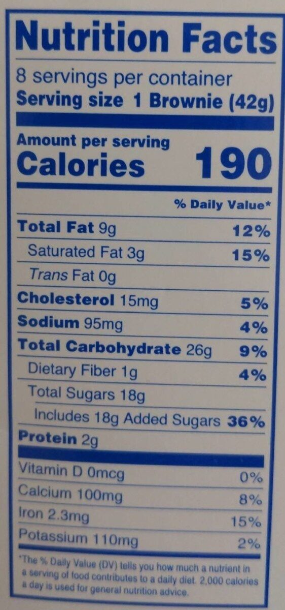 Triple chocolate brownies ounce - Nutrition facts - en