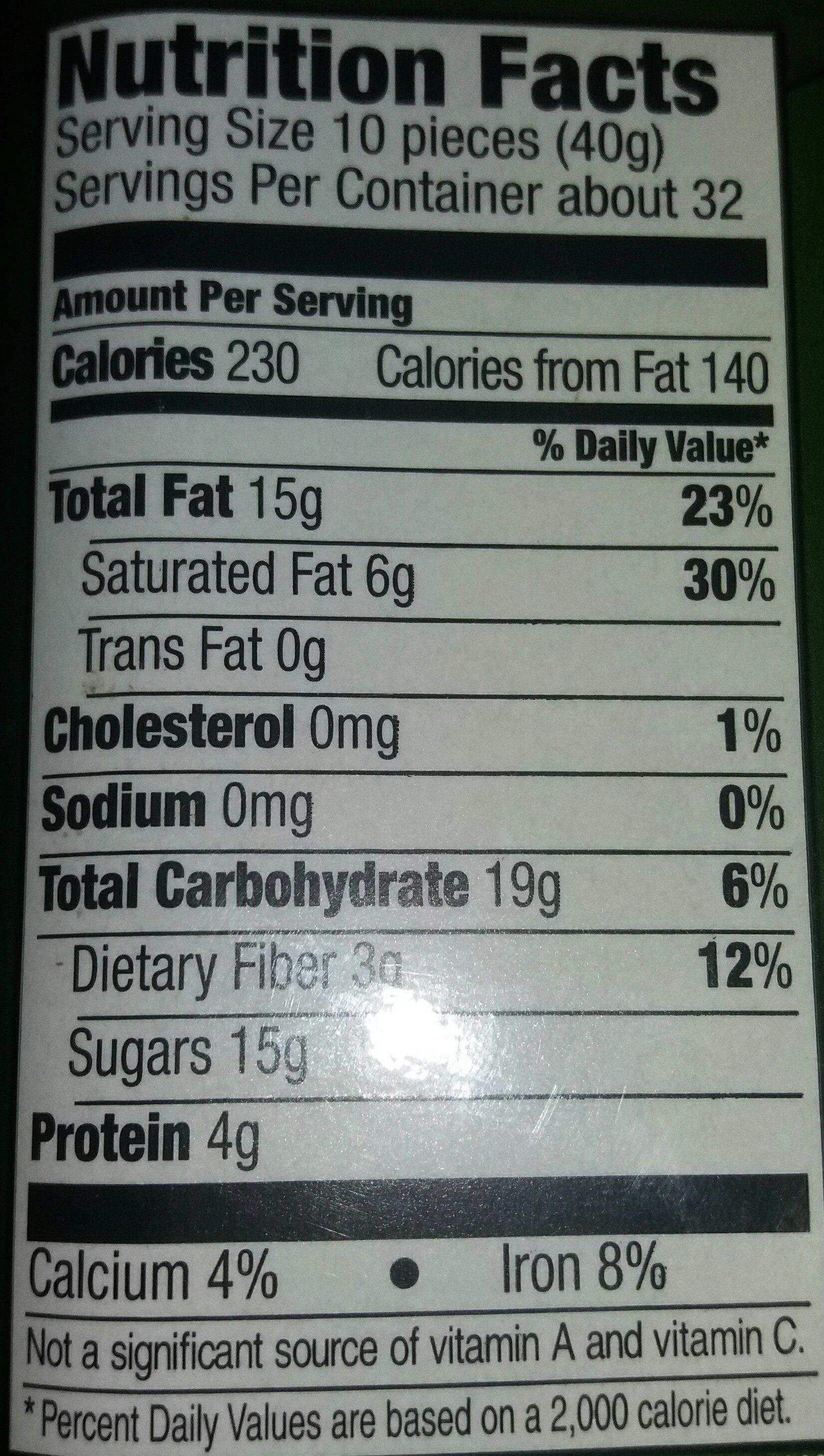 Chocolate covered almonds, chocolate - Voedingswaarden - en