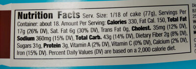 3 Layer Chocolate Cake - Nutrition facts