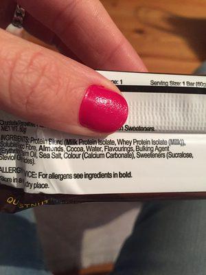 Quest Bar Brownie - Ingredients