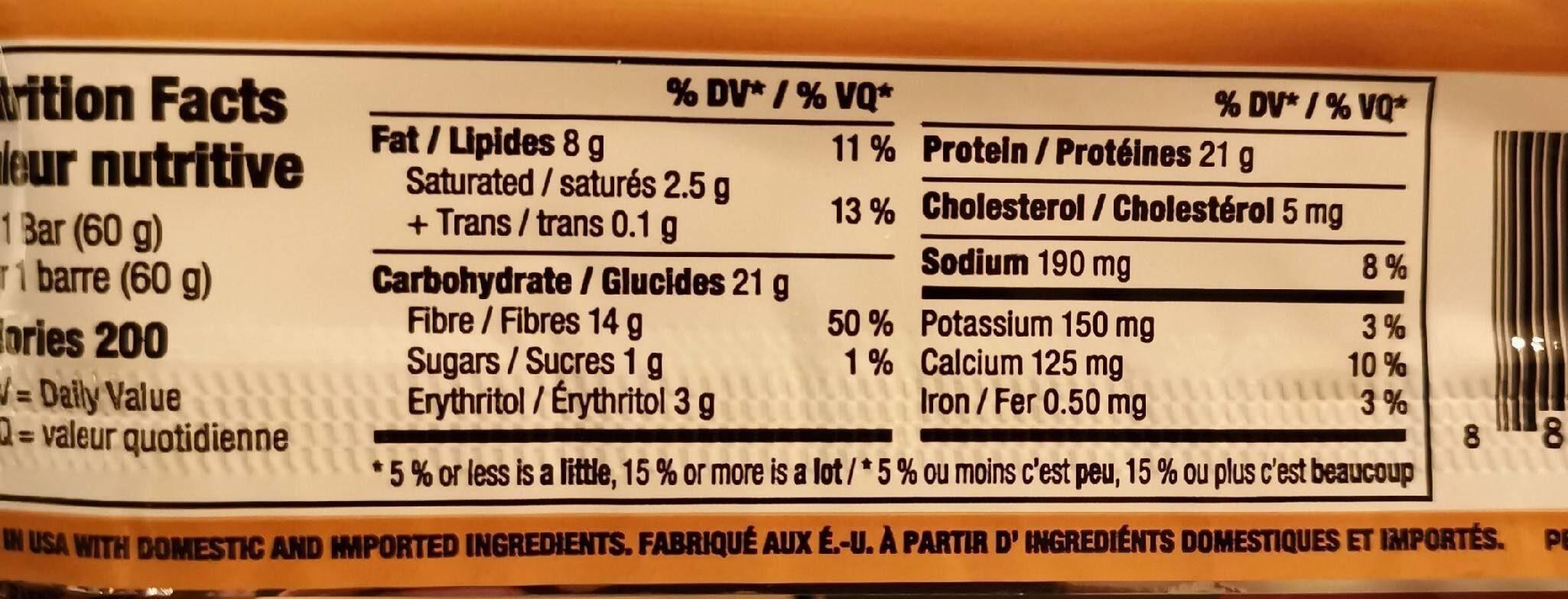 Protein bar - Informations nutritionnelles - en