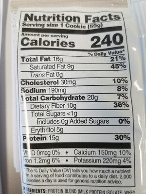 Protein cookie, double chocolate chip - Nutrition facts - en