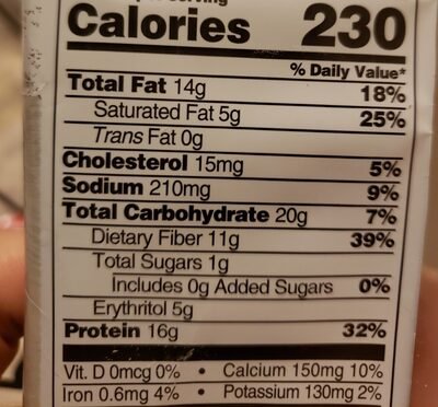 Protein cookie, peanut butter - Nutrition facts - en