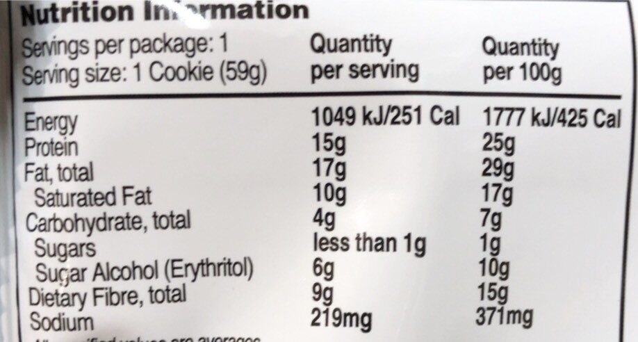 Chocolate Chip Protein Cookie - Nutrition facts - en