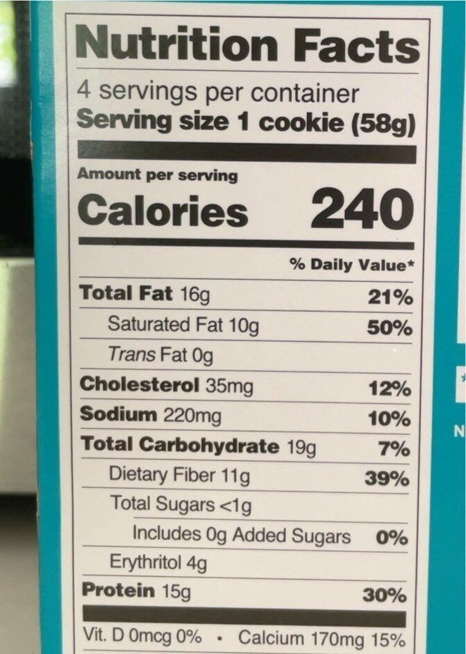 Quest Protein Cookie - Snickerdoodle - Informations nutritionnelles - en