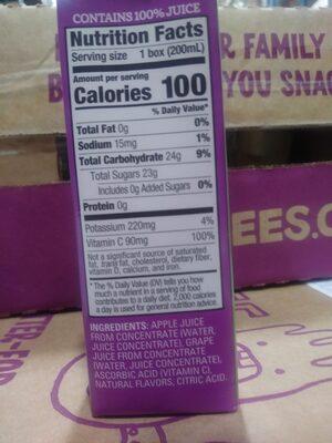 100% Grape Juice Blend Drink - Ingredienti - en