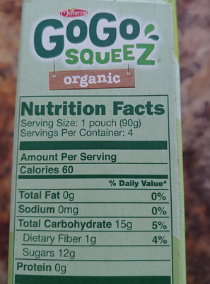 Applesauce on the go - Nutrition facts - en