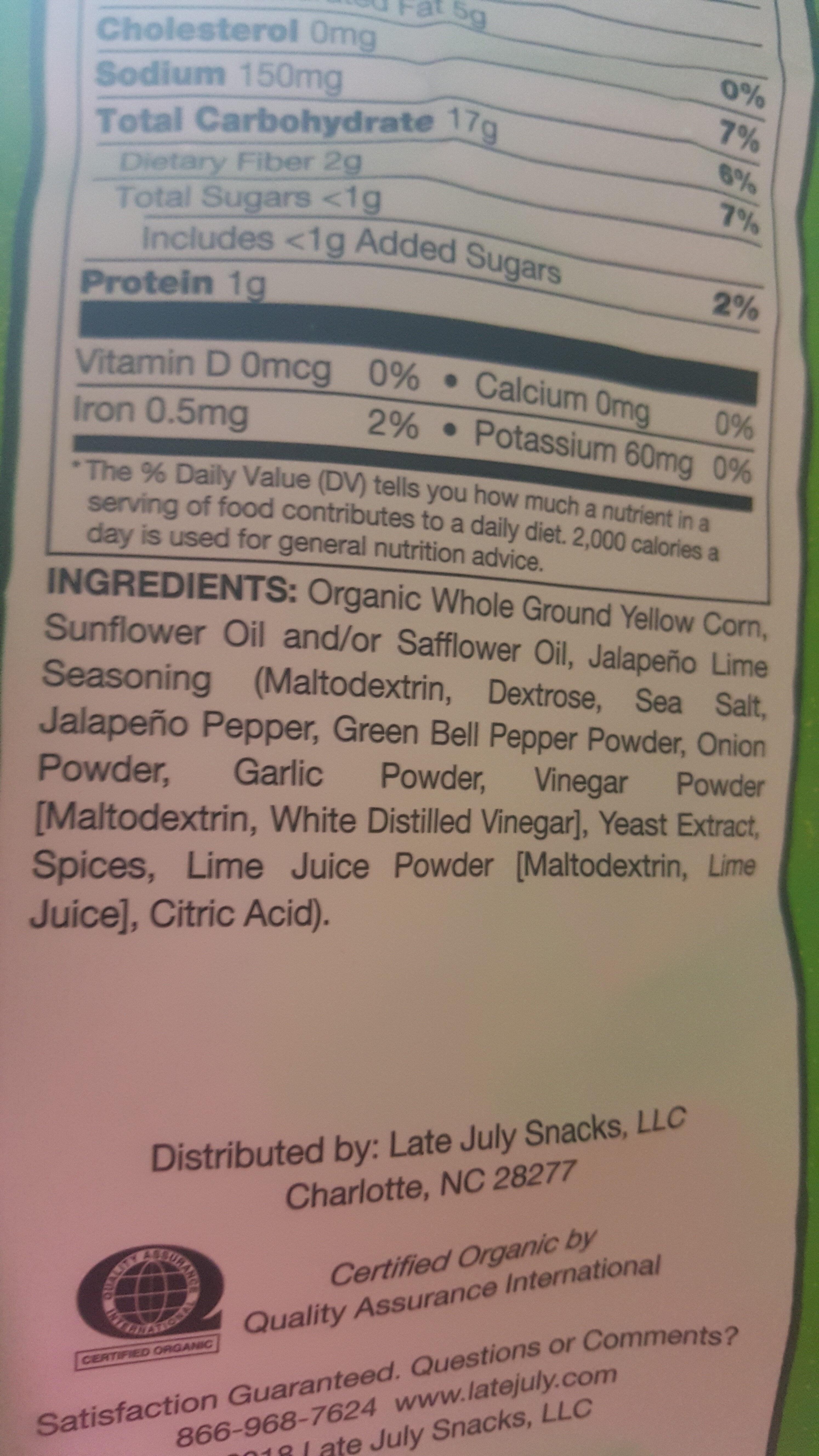Tortilla Chips, Jalapeno, Lime - Ingredients