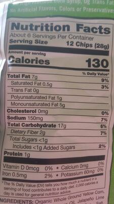Tortilla Chips, Jalapeno, Lime - Nutrition facts