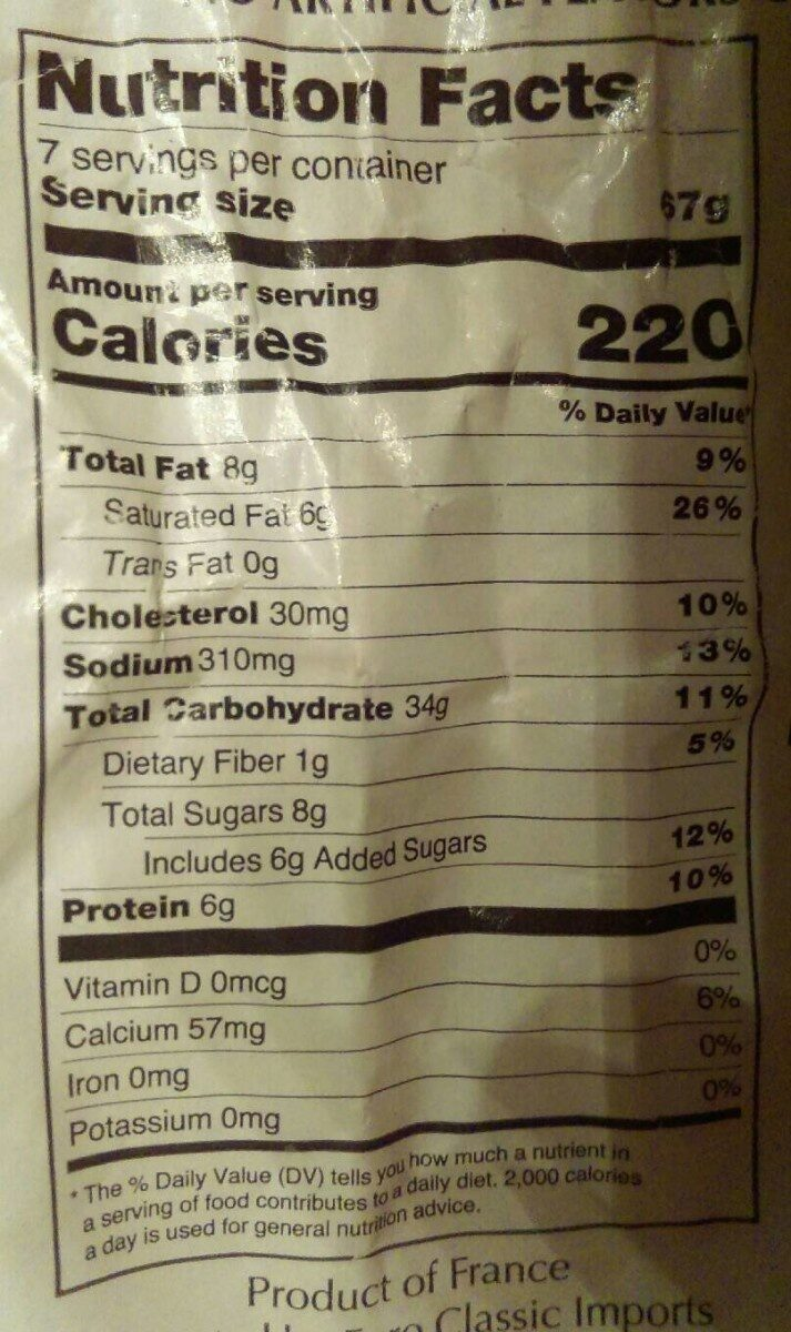 Authentic french sliced butter brioche - Nutrition facts