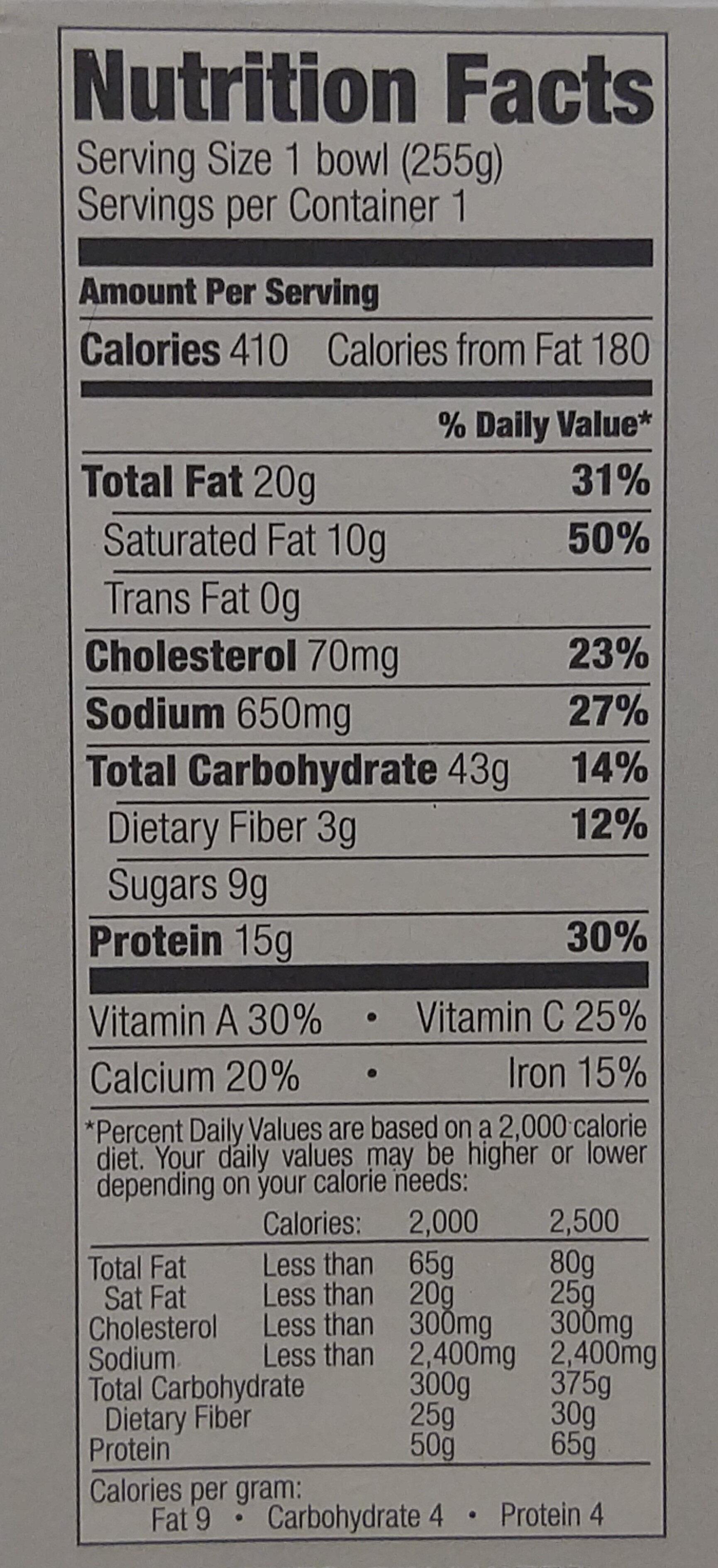 Evol, ziti & meat sauce - Nutrition facts - en