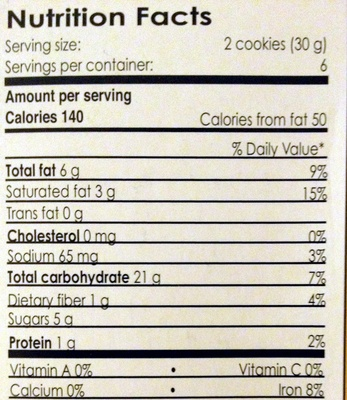 Quinoa Cookies - Nutrition facts