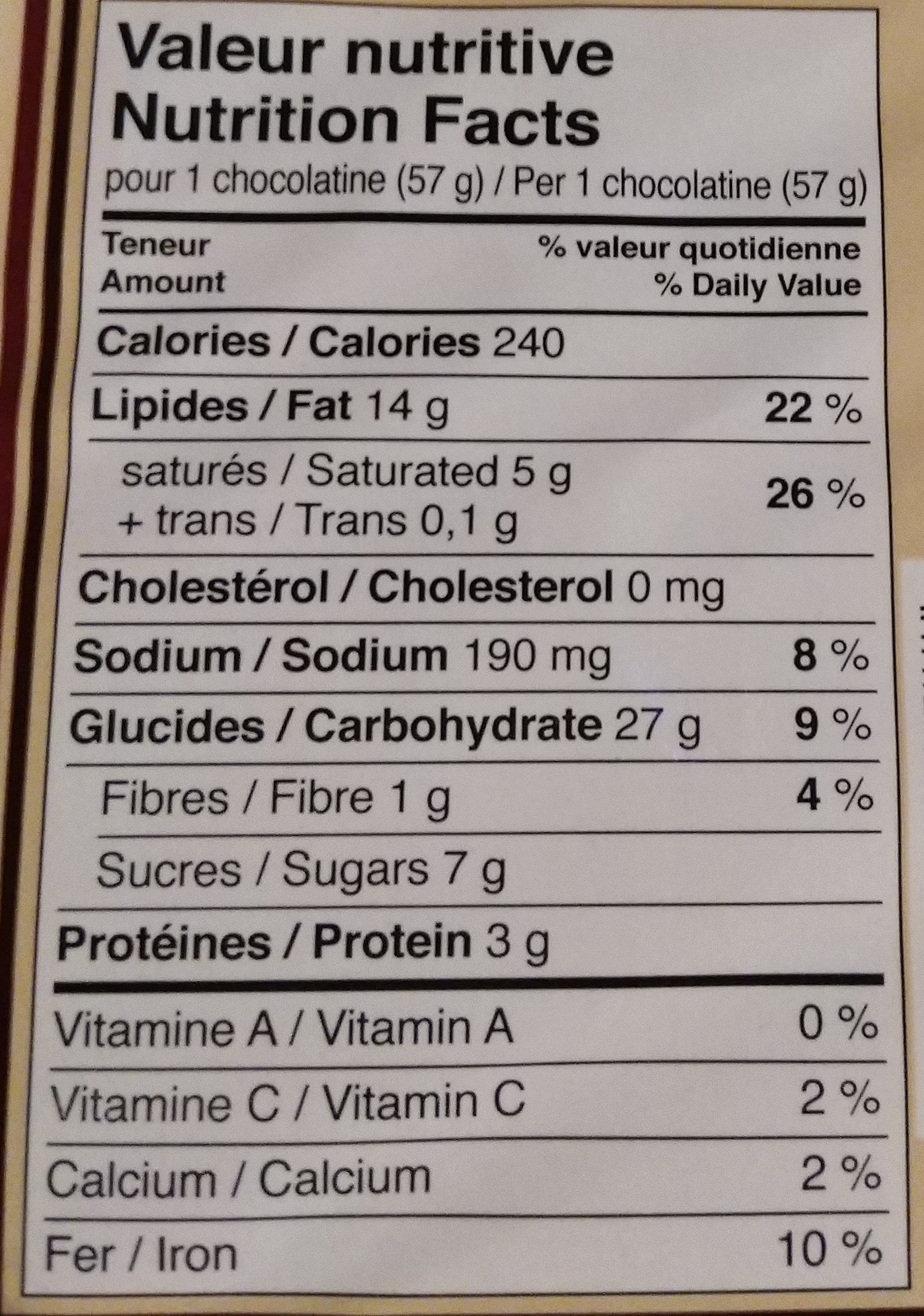 10 chocolatines - Informations nutritionnelles - fr