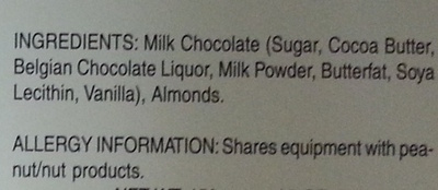 Milk Chocolate with Almonds - Ingredients