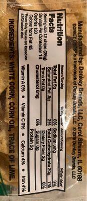 Tortilla chips - Información nutricional