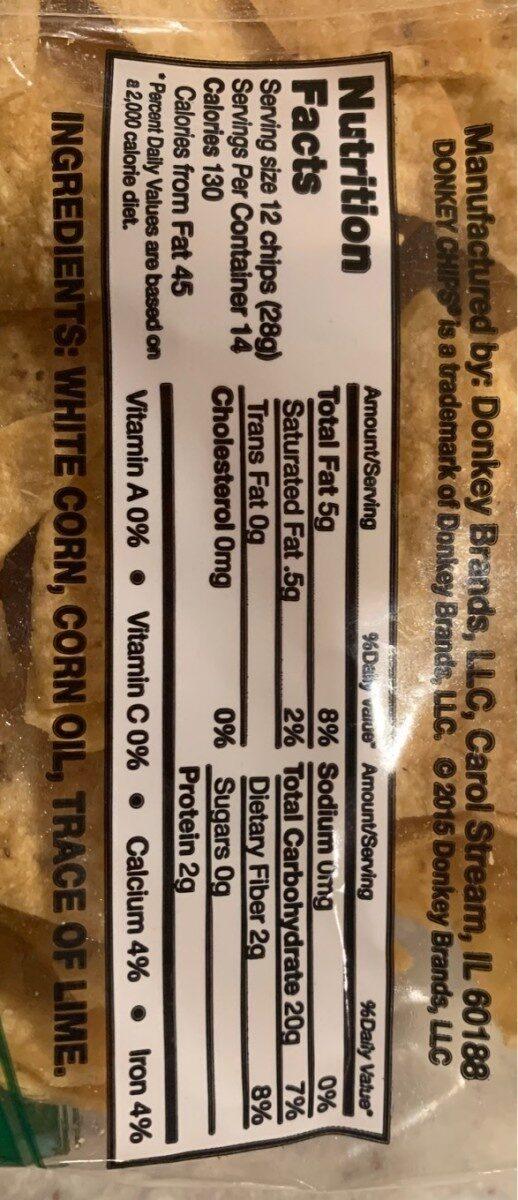 Tortilla chips - Información nutricional - en