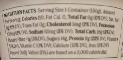 Non-fat greek yogurt with strawberry on the bottom, strawberry - Nutrition facts - en