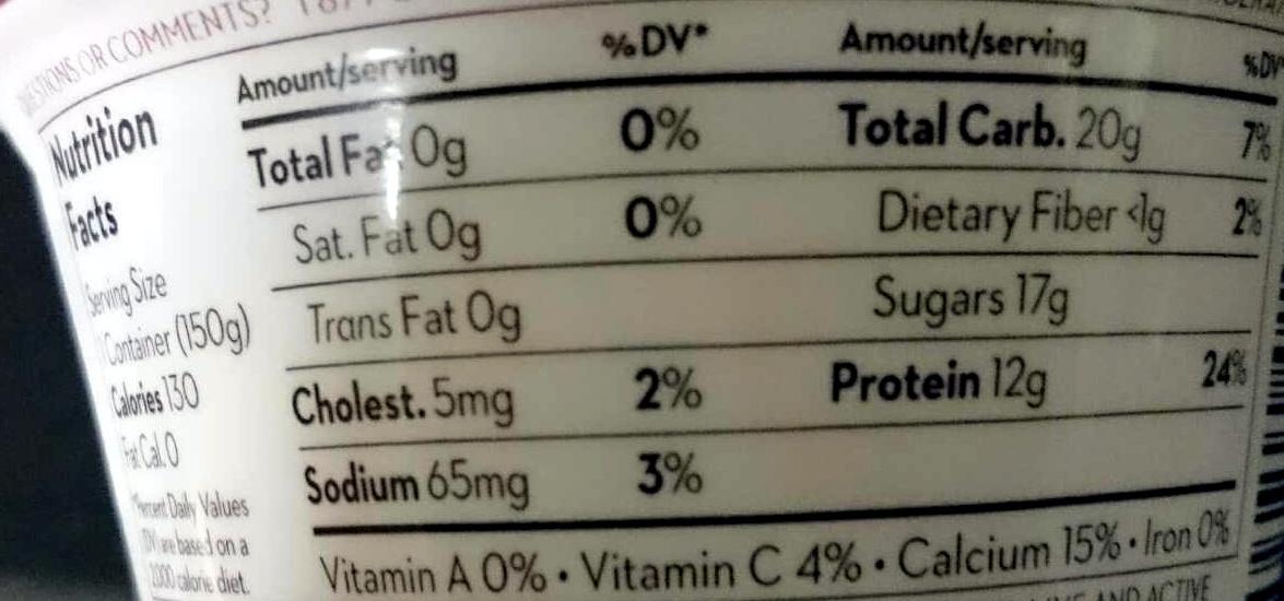 Chobani Green Yogurt Black Cherry - Nutrition facts