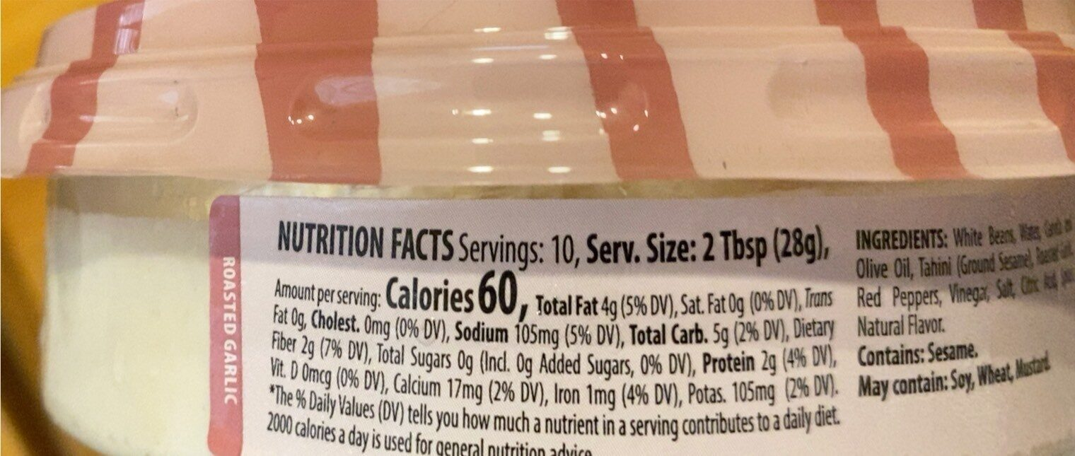 Roasted Garlic Hummus - Nutrition facts - en