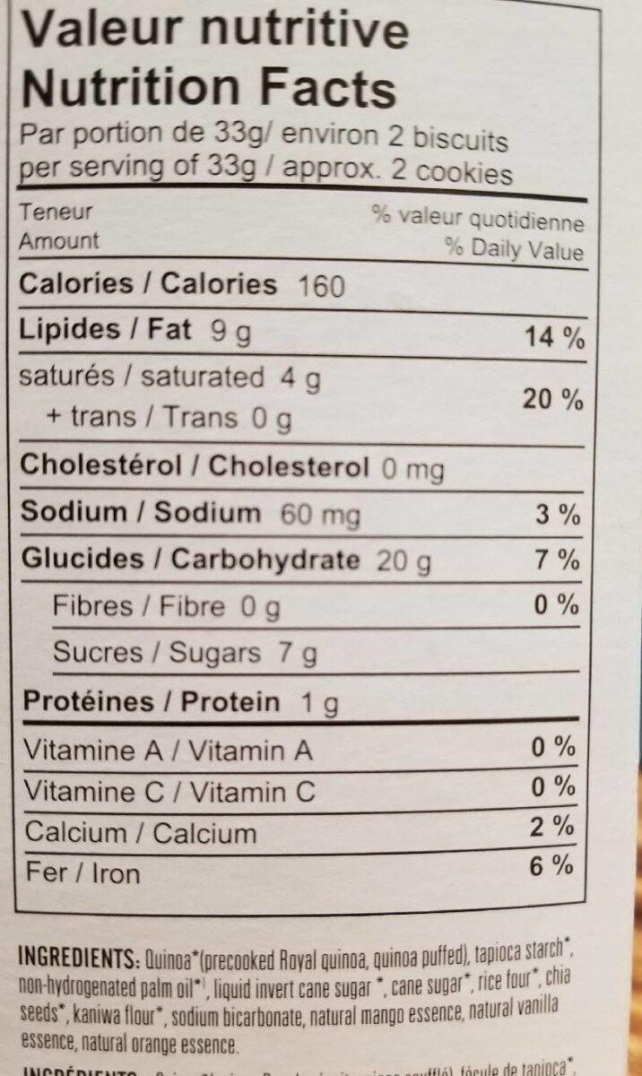 Biscuit de quinoa cookies orange et mangue - Nutrition facts - fr
