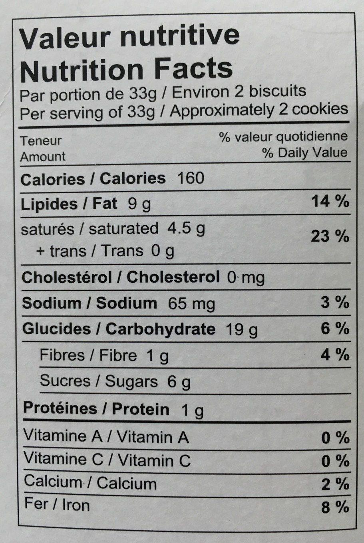Quinoa Cookies Chocolate Chips - Nutrition facts - en