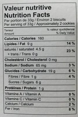 Quinoa Cookies Chocolate Chips - Informations nutritionnelles