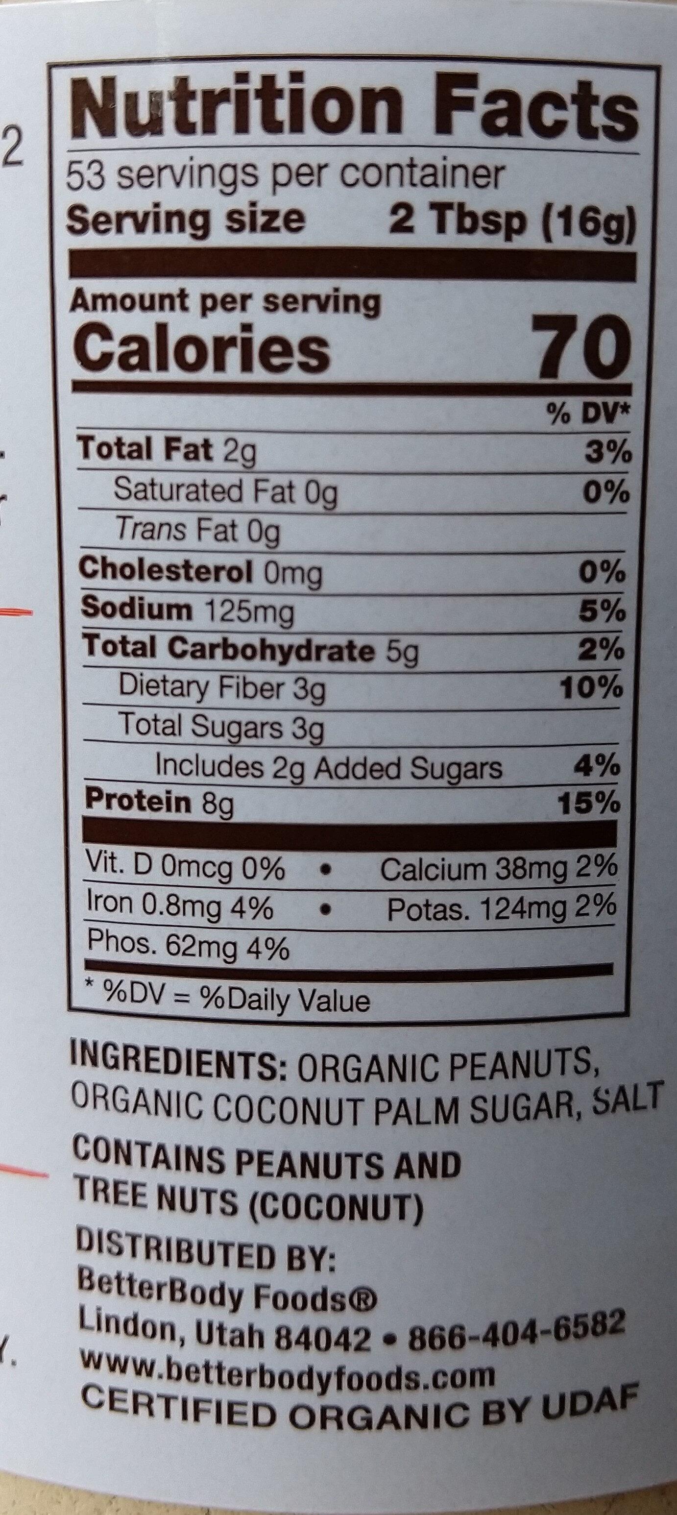Betterbody Foods PB Fit Usda Organic Powder, Peanut Butter - Ingredients - en