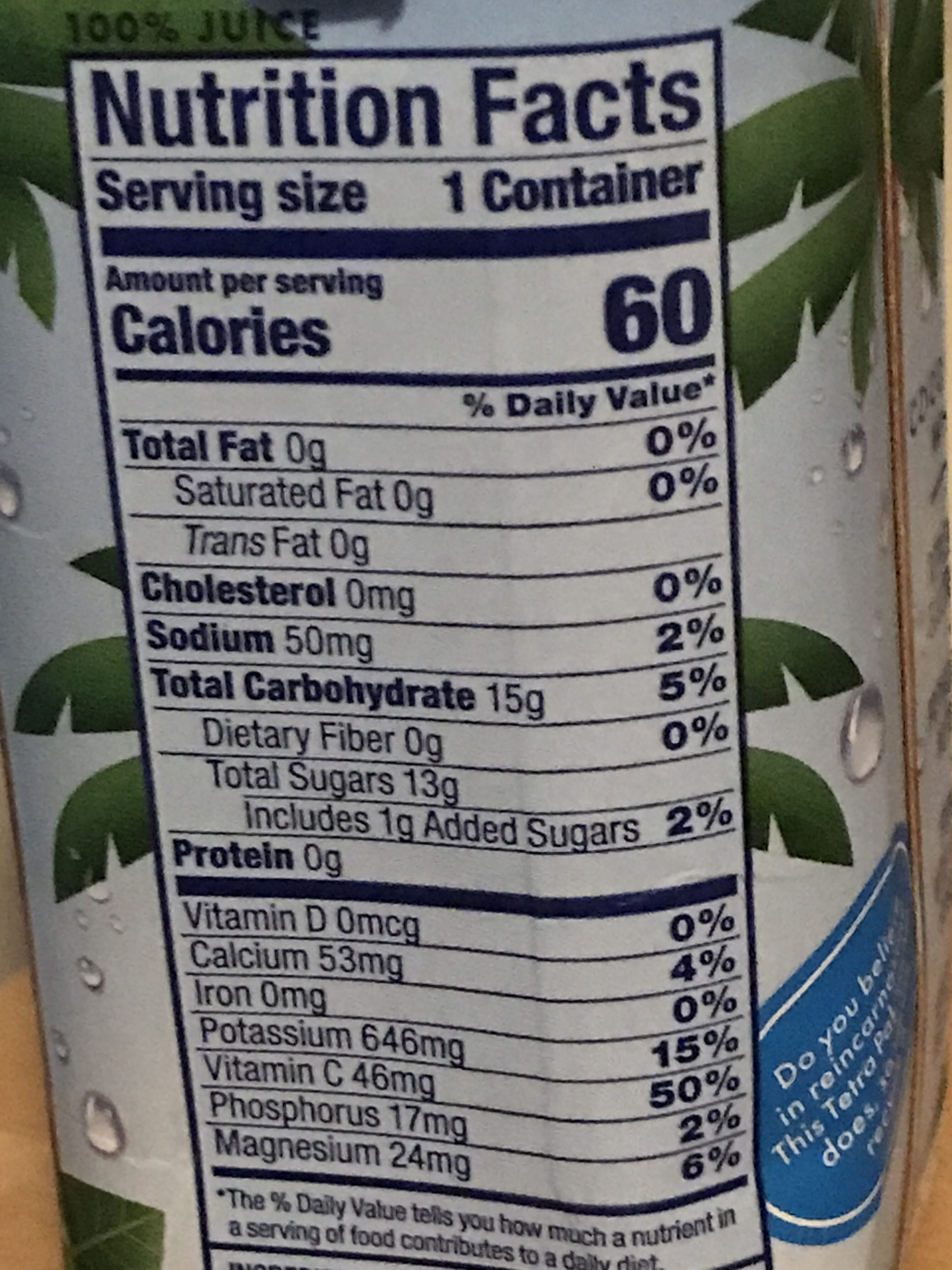 Vita coco, pure coconut water - Voedingswaarden - en