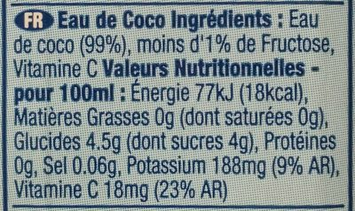 Vita coco - Nutrition facts