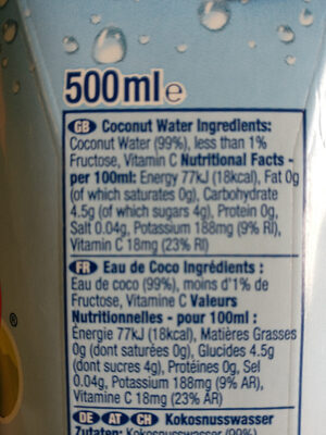 Coconut water - Nutrition facts
