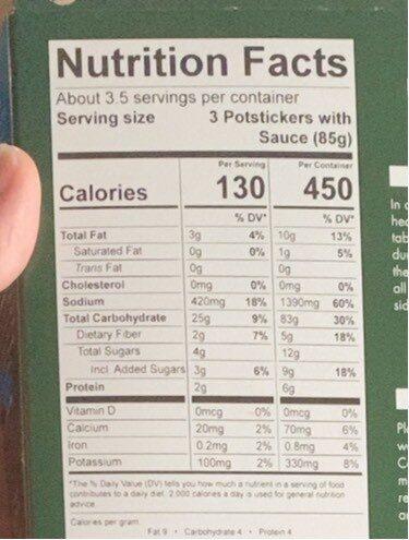 Feel good foods vegetable dumplings - Nutrition facts - en
