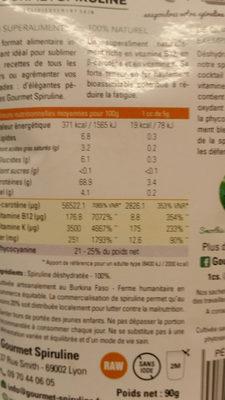 spiruline en pétales - Nutrition facts