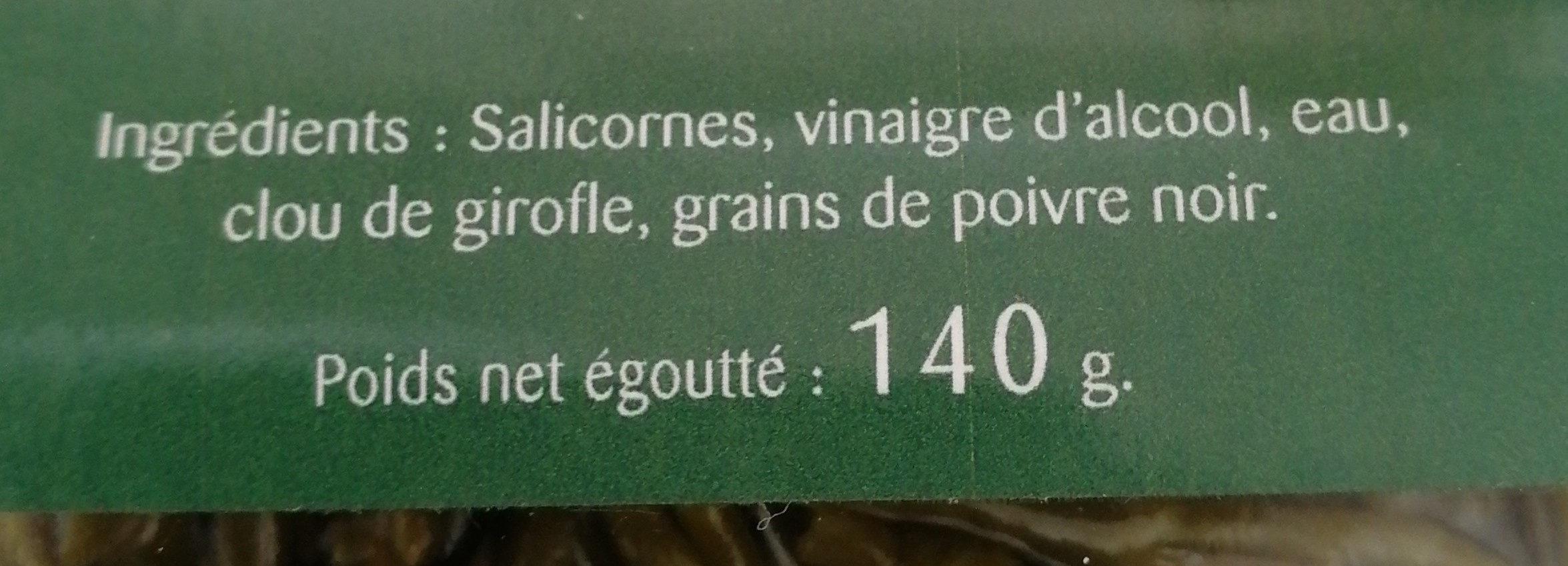 Salicornes de l'île de Noirmoutier marinées - Ingrédients