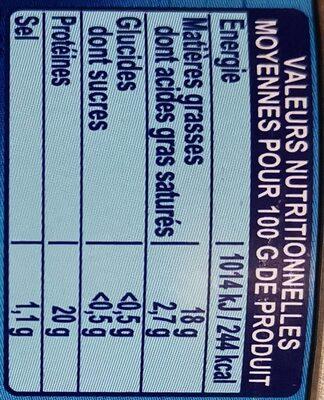 Thon entier grillé huile d'olive - Informations nutritionnelles - fr