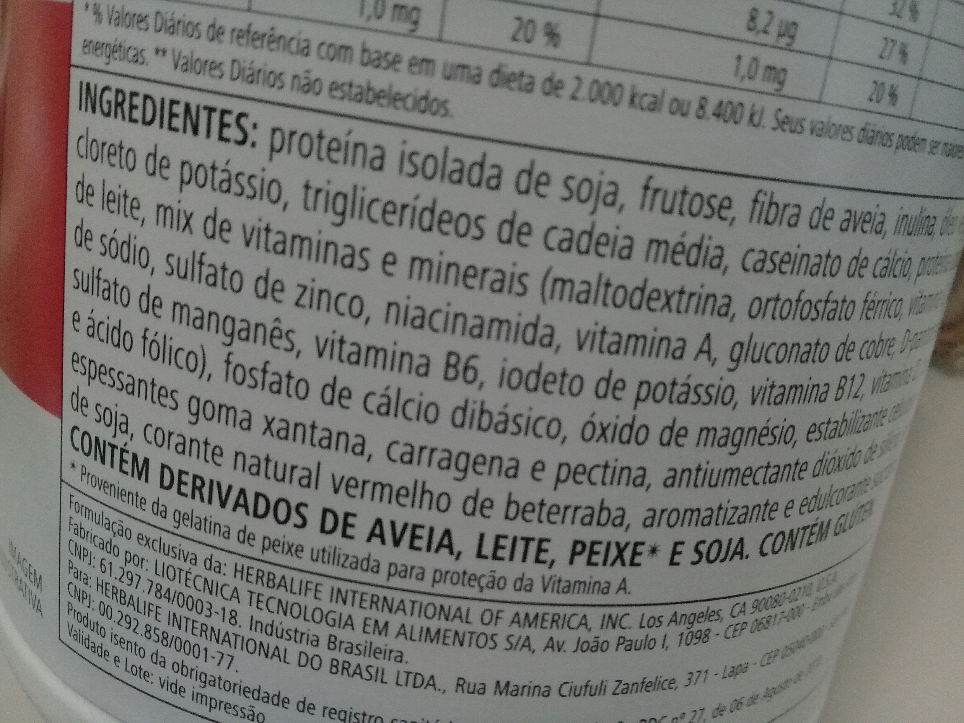 Herbalife - Ingredientes - pt