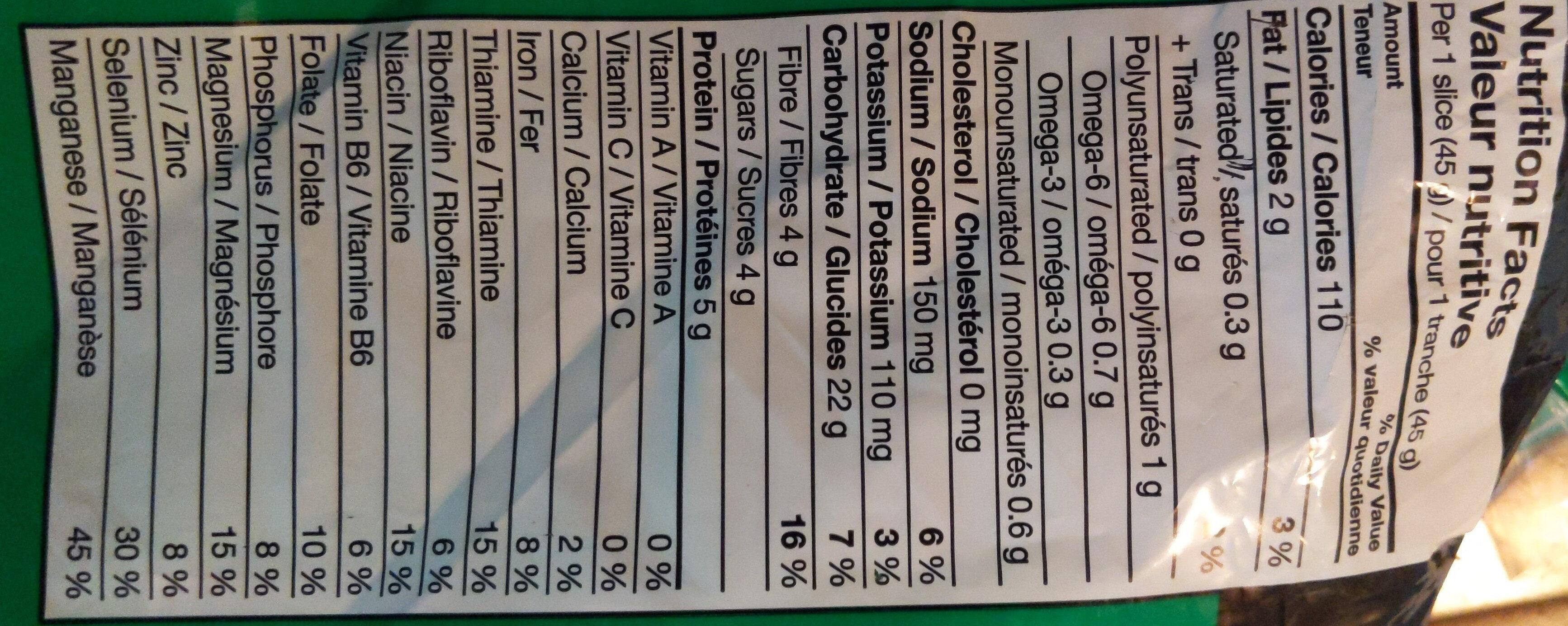 organic loaf - Informations nutritionnelles - en