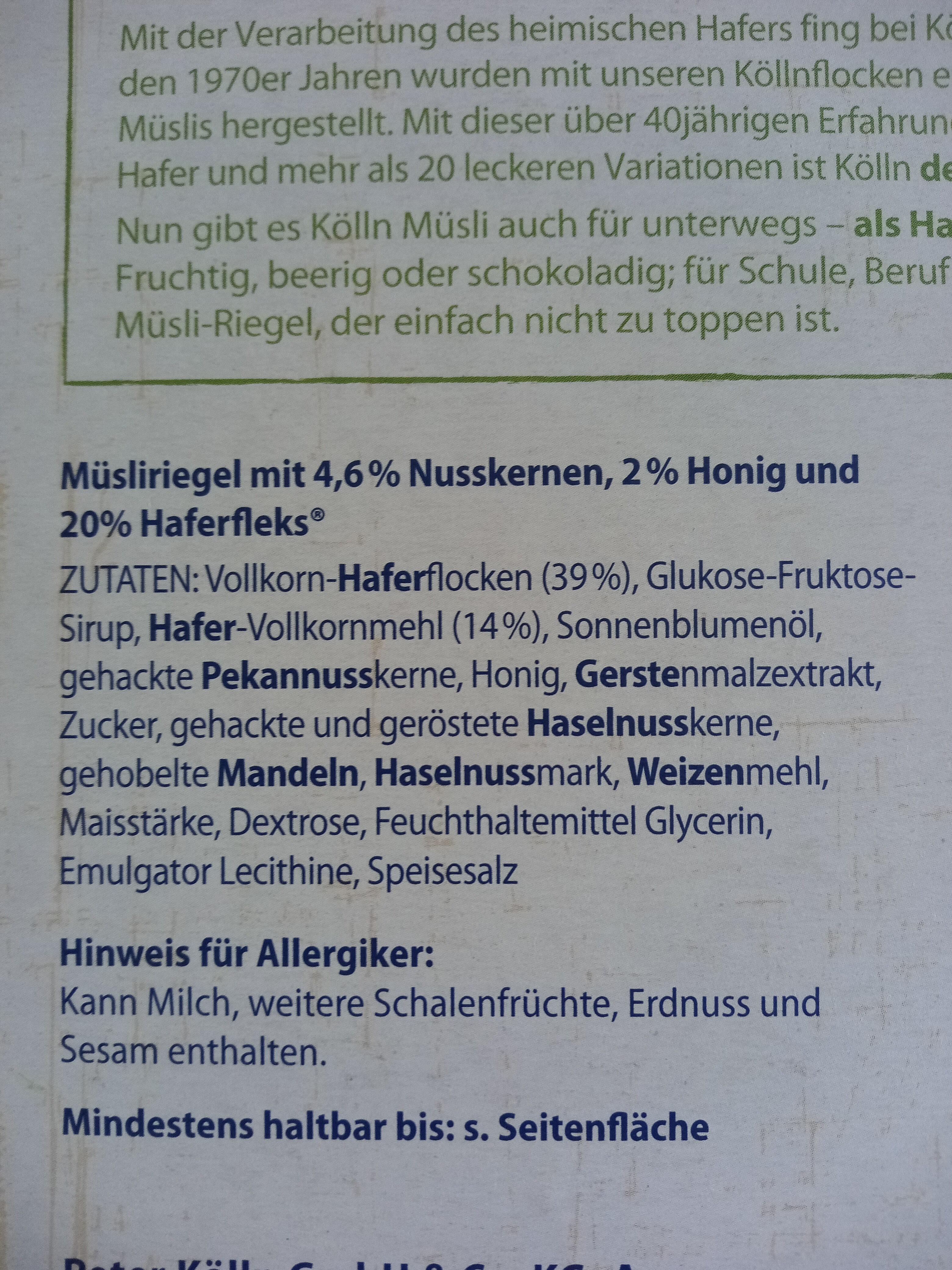 Müsliriegel Honig-Nuss - Zutaten - de