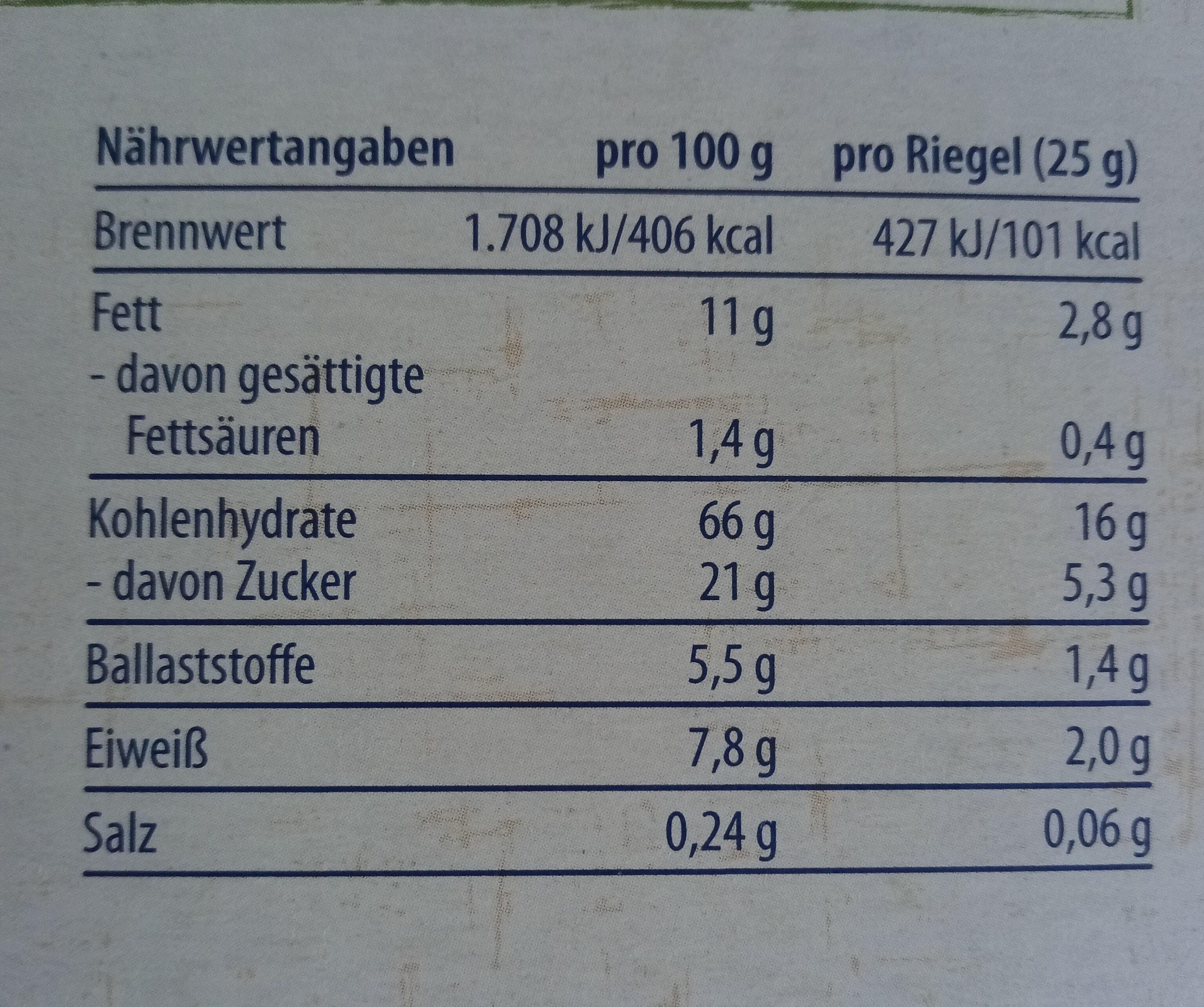 Müsliriegel Honig-Nuss - Nährwertangaben - de