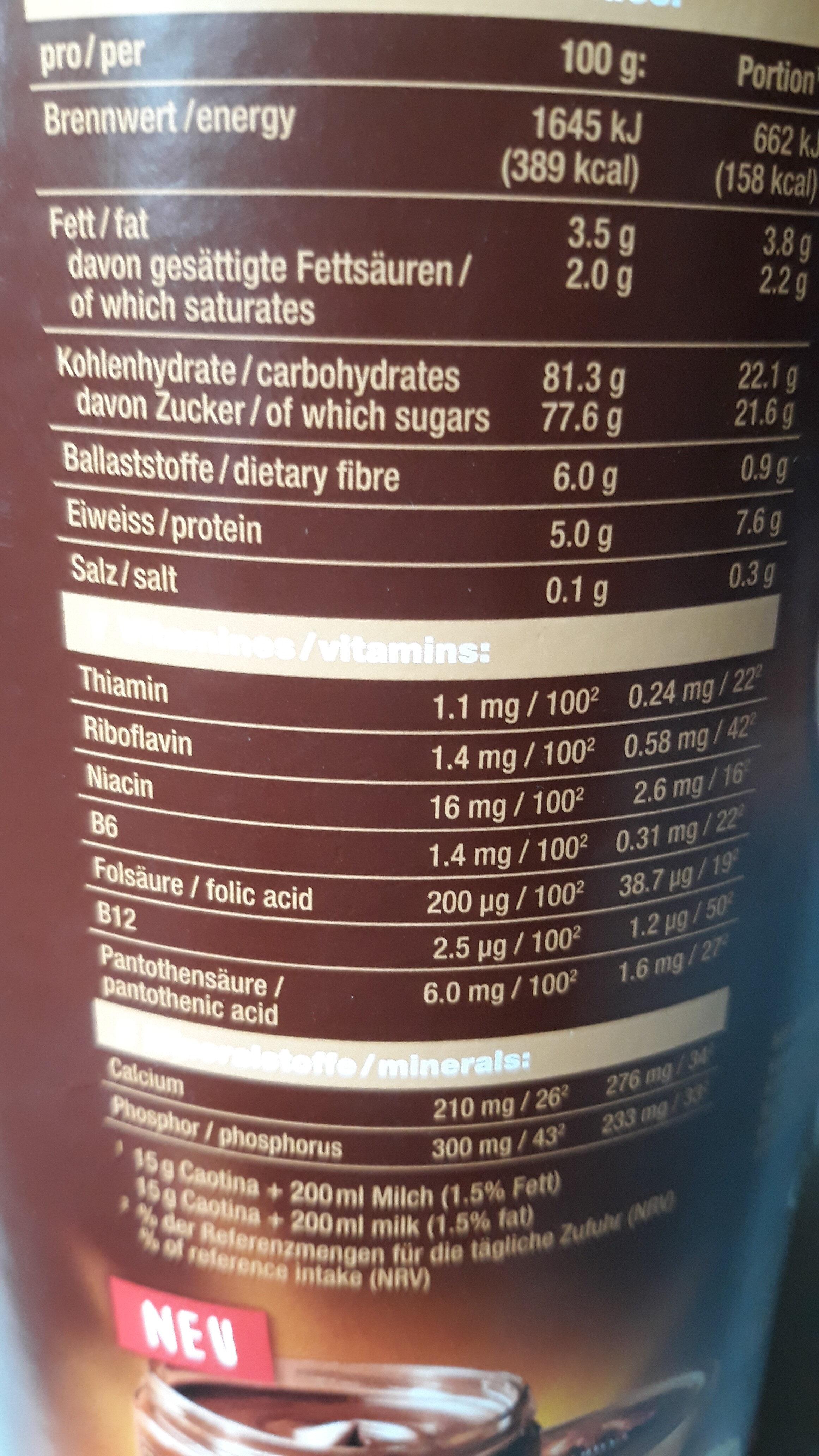 Caotina original - Nutrition facts - de